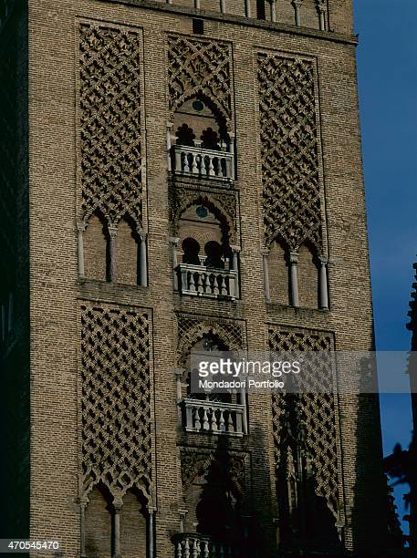 'Giralda's Minaret by Almohad craftsmen 11841198 12th Century masonry Spain Seville Detail View of the western facade of the Giralda from which stand...