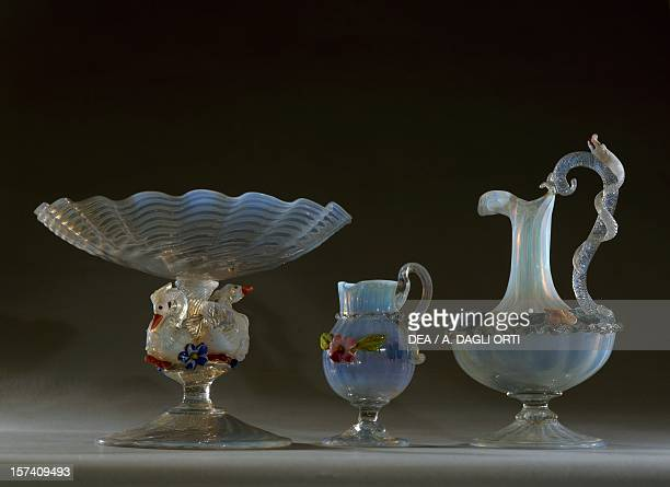 Girasol glass food stand small carafe and amphora Salviati Co Factory Italy 19th century Murano Museo D'Arte Vetraria