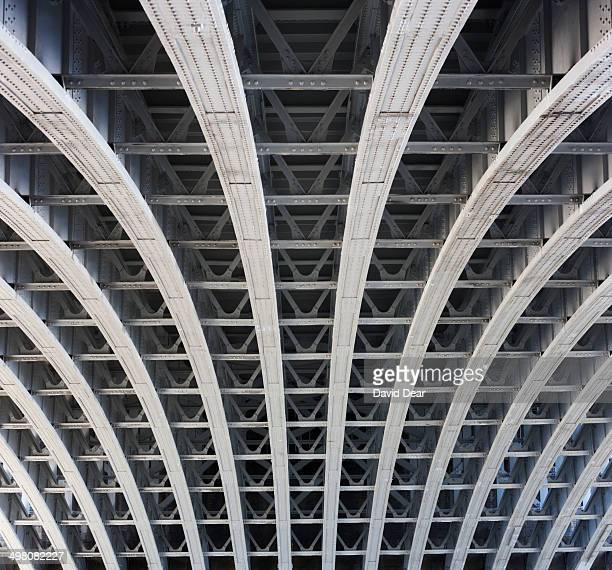 Girders forming arch of bridge, close-up