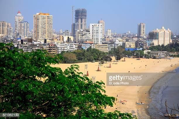 Girgaon chowpatty and Bombay skyline and skyscraper, Bombay Mumbai, Maharashtra, India