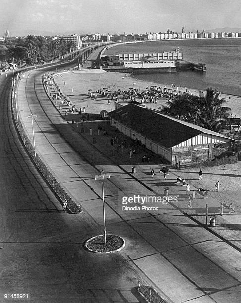 Girgaum Chowpatty leading to Marine Drive in Bombay India 1940s
