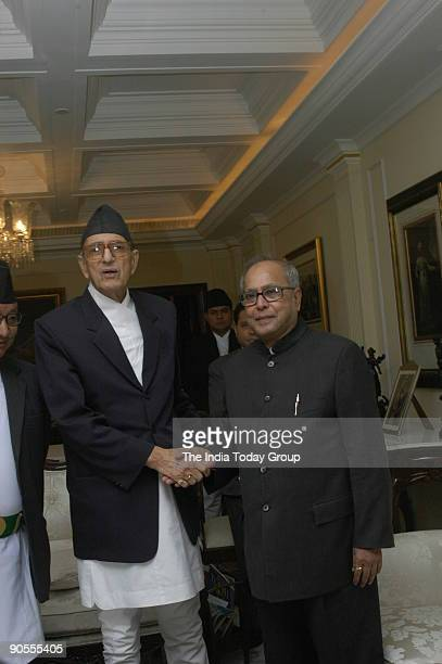 Girija Prasad Koirala Prime Minister of Nepal with Pranab Mukherjee Union Cabinet Minister of Defence in New Delhi India