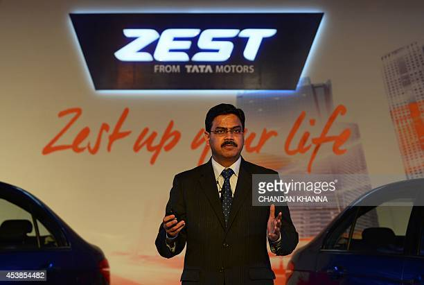 Girish Wagh Senior Vice President of Tata Motor's Programme Planning and Project Management for Passenger Vehicles talks during the launch of the new...