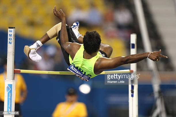 Girisha Hosanagara Nagarajegowda of India in action during the men's high jump T42 final during the Evening Session on Day One of the IPC Athletics...