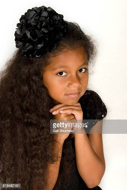 girl 7 years old wearing a black dress - 6 7 years stock pictures, royalty-free photos & images