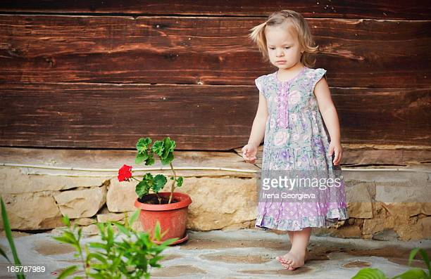 Girl and a flower