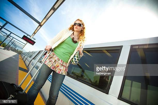 Girl and BART Train