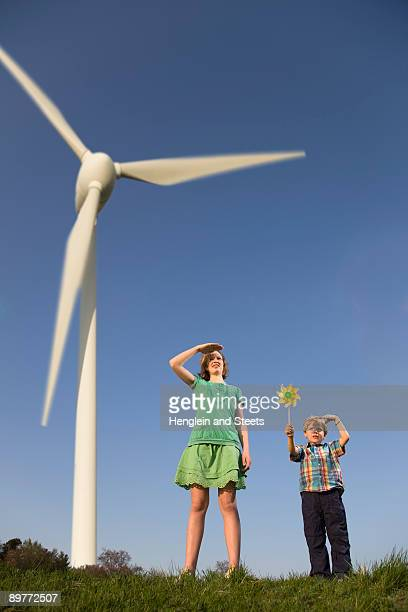 girl and boy at Wind Turbines