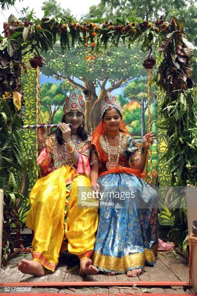 girl and boy in radha krishna costume, india - radha krishna stock pictures, royalty-free photos & images