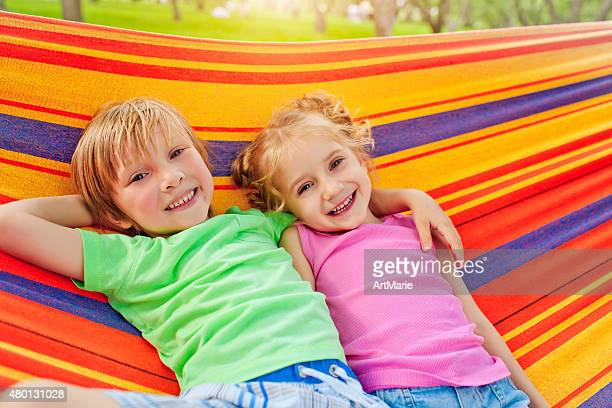 Girl and boy in summer