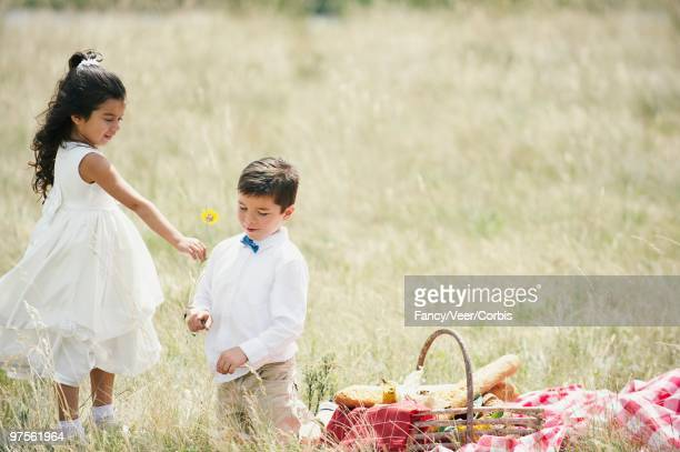 Girl and Boy Picnicking