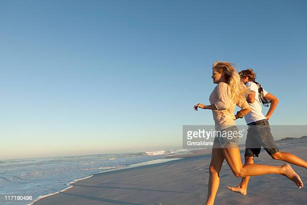 Girl and boy running