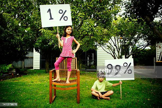 Girl and boy with percentage sign board