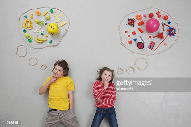 Girl and boy with thought bubble