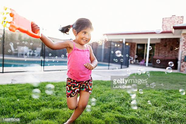 Girl and bubble machine