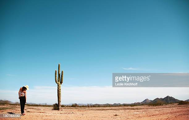 girl and cactus in arizona desert - cactus stock pictures, royalty-free photos & images