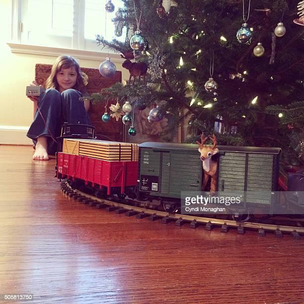 Girl and Christmas Train