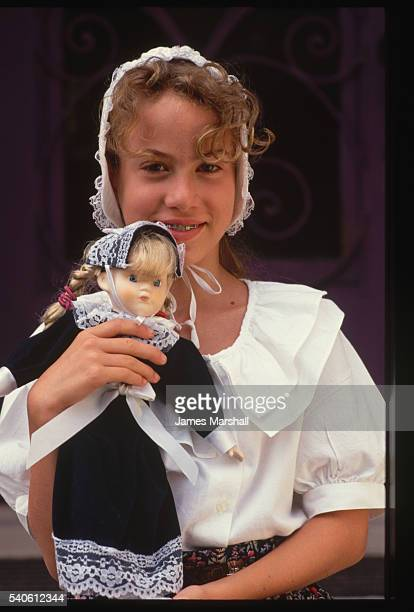 Girl and Doll in Colonial Costume
