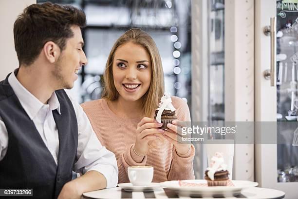 Girl and her boyfriend heaving a date