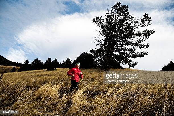 girl and her dog trail running - girl blows dog stock photos and pictures