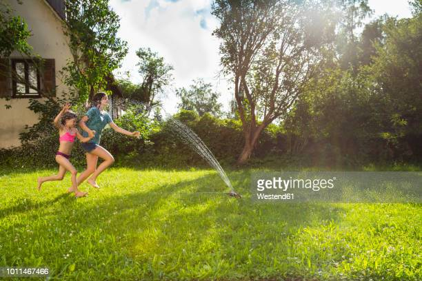 girl and her little sister having fun with lawn sprinkler in the garden - rushing the field stock pictures, royalty-free photos & images