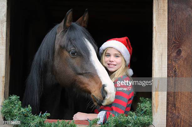 girl and horse in barn window wearing christmas santa hats - christmas horse stock pictures, royalty-free photos & images