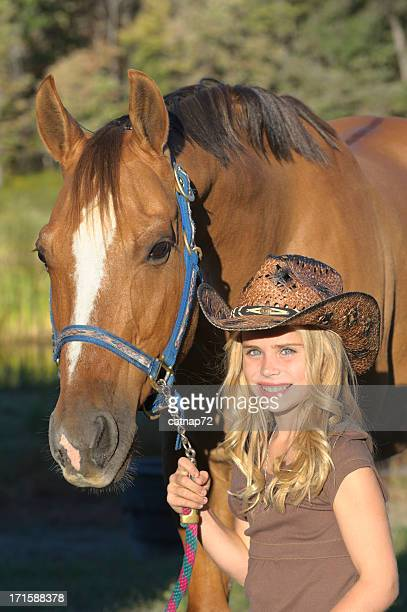 Girl and Horse Portrait, Pretty Blonde Cowgirl with Hat
