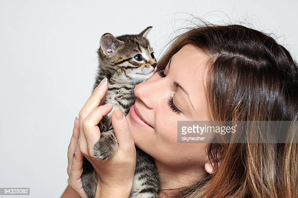 girl and little cat