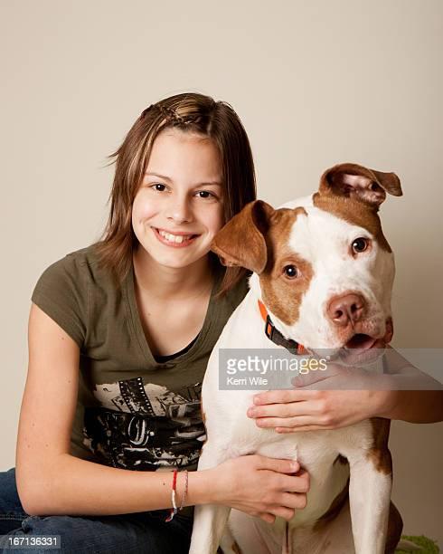 Girl and mixed breed dog