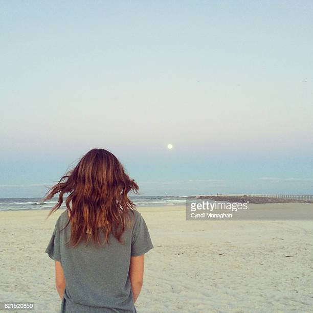 Girl and Moonrise