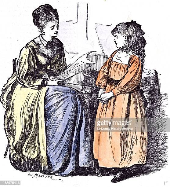 Girl And New Governess Du Maurier Britain Practice Holiday Piano Teaching Teacher Interior Education At Home Learning Culture Literacy Information...