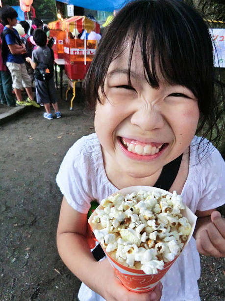 Girl and popcorns