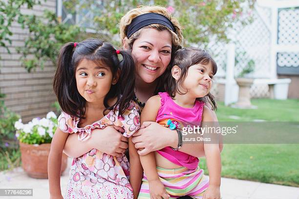 girl and silly toddlers - aunt stock pictures, royalty-free photos & images