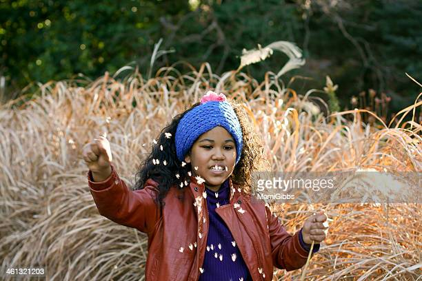 girl and silver grass - mamigibbs stock photos and pictures