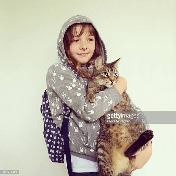 Girl and Tabby Cat
