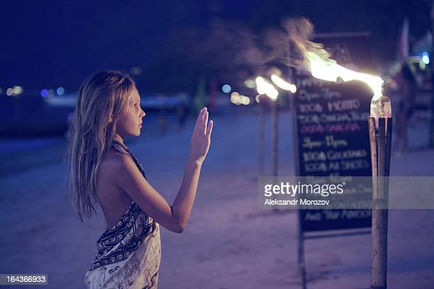 Girl and torches