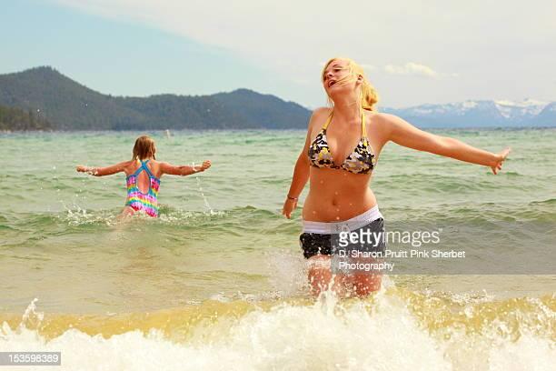 Girl and woman in lake