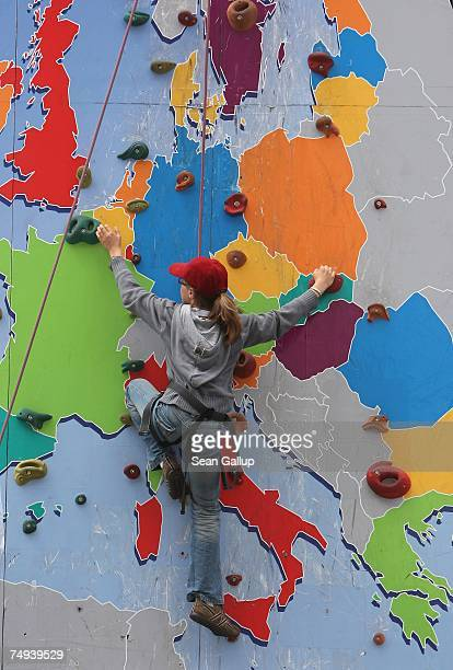 Girl ascends a climbing wall with a map of the European Union at an E.U. Sponsored promotional event June 28, 2007 in Berlin, Germany. The European...