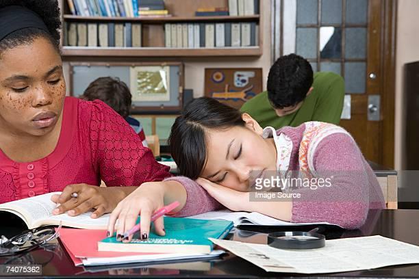 Girl asleep in class