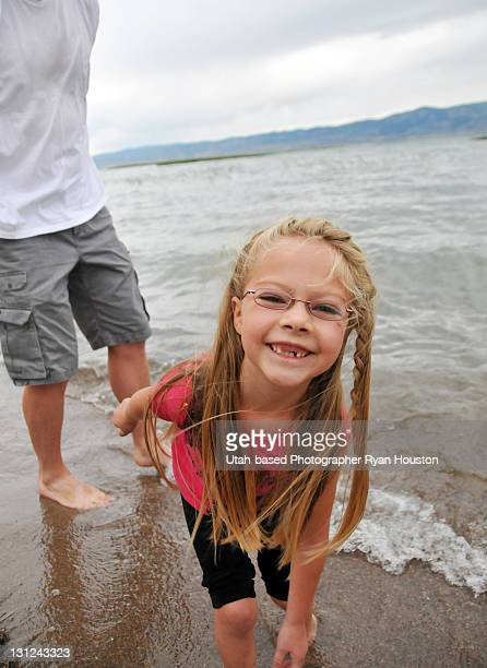 girl at bear lake on east beach - niece stock photos and pictures