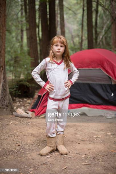 Girl at Campsite in Pajamas