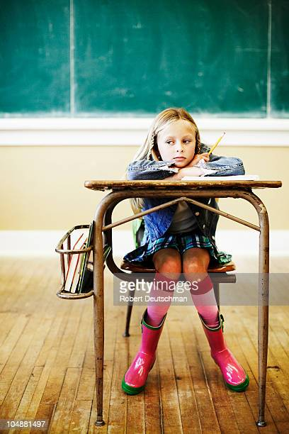 girl at desk - school girl shoes stock pictures, royalty-free photos & images