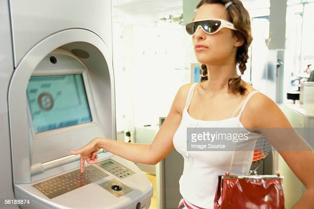 Girl at Internet terminal