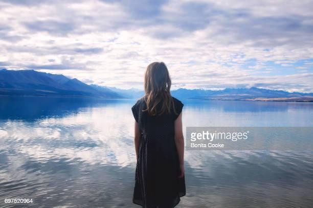 Girl at Lake Pukaki, Mount Cook