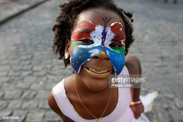 Girl at Salvador carnival in Pelourinho