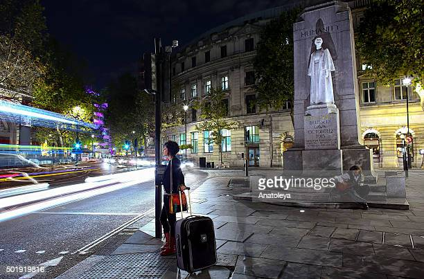 Girl at Traffic Lights on Charing Cross at Night