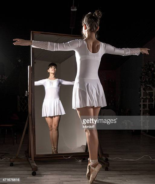 girl ballet dancer - full length mirror stock photos and pictures