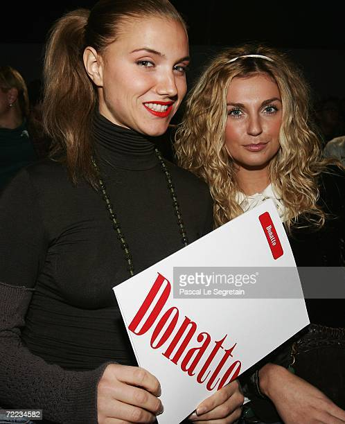 Girl band Fabrika members Sasha Savelieva and Ira Toneva attend the Dmitry Loginov for Donatto Fashion Show as part of Russian Fashion Week...