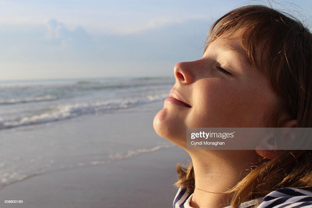 Girl Basking in Sun : Foto de stock