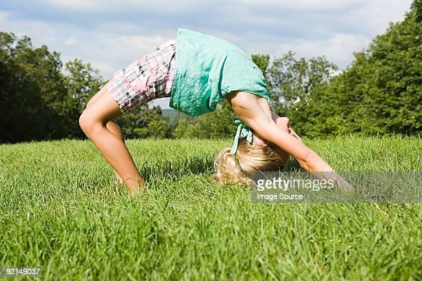 Girl bending over backwards